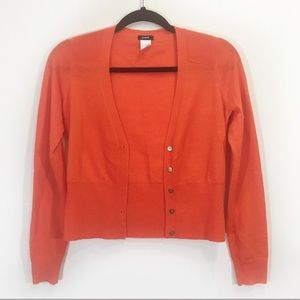 J.Crew Wool Orange Red Cropped Cardigan  Size XS